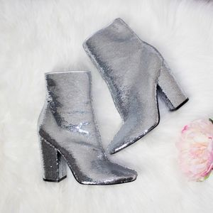 Silver Sequined Heeled Bootie NWOT